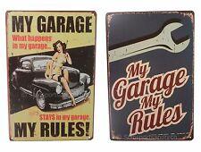 2 X My Garage My Rules Mechanic Funny Tin Sign Set Bar Garage Wall Decor Retro