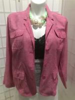 Women's New Studio Works 1X Raspberry Pink Linen Cotton Blend Summer Jacket