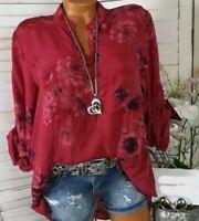 Chemisier Fleurie Col V Manches Longues Mode D'Été Blouse Shirt Imprimee F Rouge