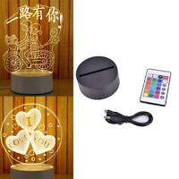 3D Led Lamp Base Holder Night Light USB Touch 7 Colors Change Lamp Panel Remo_F