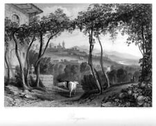 Bergamo, Italien, großer Original-Stahlstich von 1862