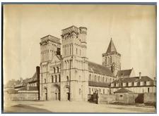 France, Caen, Abbaye aux Dames  Vintage albumen print.  Tirage albuminé  12x