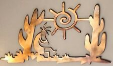 Kokopelli Desert Scene Wall Metal Art with Rustic Copper Finish Hanging