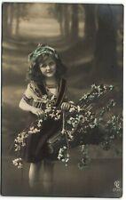 Edwardian beautiful girl in Forrest flowers photo postcard 1910's