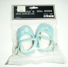"""Tallina's Doll Shoes NEW Blue Style 260 Size 5 Mary Janes 2.5"""" Sole w/Bows"""