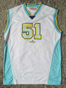 Genuine Spalding 51 White Blue Basketball Jersey Size XL NBA Vest Vintage