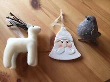 3 X White & Grey Christmas Tree Decorations Baubles  Reindeer, Santa & Bird