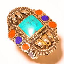 Tibetan Turquoise Red Coral Lapis Lazuli Gemstone Ethnic Adjustable Ring RD-2580