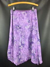 biyaycda 100% Poly Purple Floral Sheer Skirt Asymmetrical Flirty Career Size L