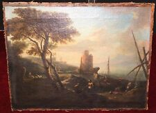 F1-021. COASTAL LANDSCAPE. O/L. ATTRIBUTABLE CLAUDE JOSEPH VERNET. FRANCE. 18TH