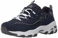 Skechers Womens D'Lites Low Top Lace Up Running Sneaker, Blue, Size 10.0 koZZ