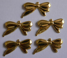 5 Gold Tone Bow Metal Charm Embellishments for Jewellery, Craft, Scrapbooking