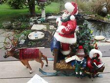 Animated Musical,Lights Santa w Reindeer Fabriche Christmas