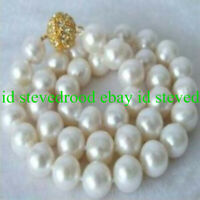 "Pretty Huge 12mm South Sea White Shell Pearl Round Beads Necklace 18"" AAA"