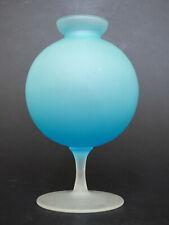 Empoli blue satin glass ball vase 60s retro Italy Mid Century Modern satinato