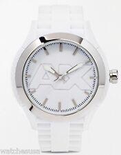 Armani Exchange Mens AX1380 White Silicone Wristwatch White Dial With AX Logo