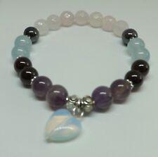 Rose Quartz Moonstone Amethyst Garnet Crystal Healing Fertility Love Bracelet