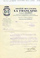 Paris XVII ème 9 Rue Descombes - Petite Entête Ste des Cycles  La Française 1928