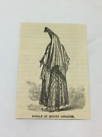 1884 small magazine engraving ~ WOMAN OF MOUNT LEBANON, Lebanon