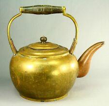 ! Antique ea.1800's Thick Brass & Wood Gosseneck Lg Teapot Tea Coffee Pot Kettle