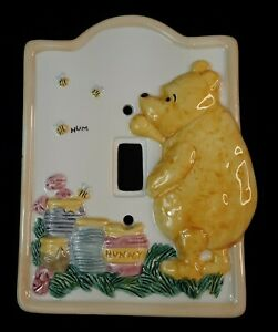 Disney Classic Winnie The Pooh Ceramic Light Switch Plate Cover by Charpente
