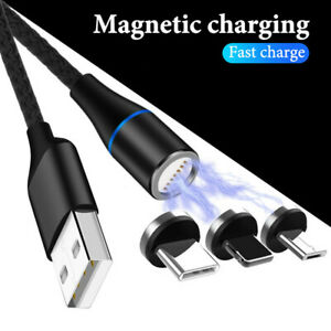 360° Magnetic Charger Cable LED Type-C For IOS Micro USB For iPhone Samsung Lot