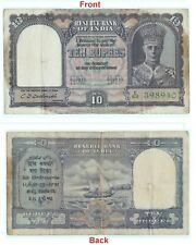 Genuine 10 Rs Indian Banknote 2nd Issue king George VI Collectible. G5-64 US