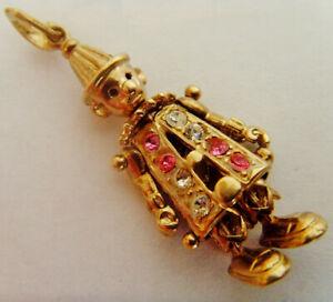 9ct Gold Clown Pendant Set With Gemstones 32mm Drop Length Hallmarked