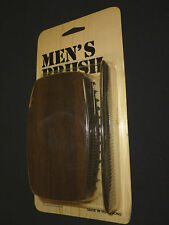 Brand New Hair Brush Mens Military Style Wood look Plastic Block w/ comb