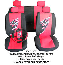 13pc set racing flame car seat covers blk/red +matching items,NO AIRBAGS CUT-OUT