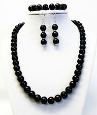 10mm Crystazzi Black Glass Pearl Necklace Bracelet & Earrings Set