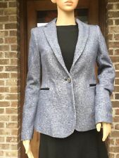 Rare S_NWT ZARA NAVY BLUE ONE-BUTTON PLUSH BLAZER Jacket Coat 2107/236