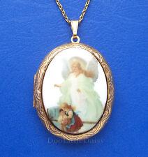 Christian Religious Porcelain GUARDIAN ANGEL CAMEO GT Locket Pendant Necklace WB