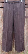 RALPH LAUREN WIDE LEG BROWN PINSTRIPE TROUSERS PANTS (UK16-18) USA 12 BNWT