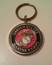 Collectible United States Marine Corps Gold and Enamel Medallion Key Ring
