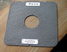 5x4 plaubel peco ets flat lensboard  48.3mm hole ,matt finish 3 screw holes