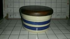 "ROSEVILLE FRIENDSHIP POTTERY CANISTER w/ Wood Lid 4"" wide x 3"" high"