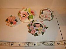 4 Small ceramic flowers ornament basket pots