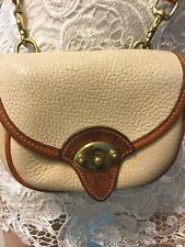 Womens Authentic Dooney & Burke Beige Brown Crossbody Bag Handbag Purse Small