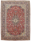 Vintage Oriental Najafabad Rug, 10'x13', Red/Blue, Hand-Knotted Wool Pile