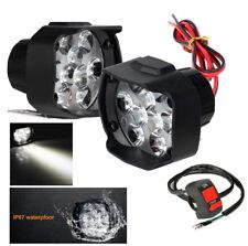 2pcs Led Motorcycle Headlight 15W Fog Spotlight Driving Light Extra Lamp Switch