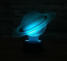 3D Saturn Planet Night Light 7 Color Change LED Desk Lamp Touch Room Decor Gift