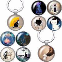 Cat Keyring Gift Keychain Key Ring Silver Fob Kitten Lover Bag Charm Chain (TK)