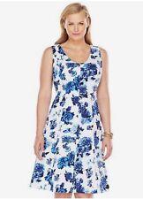 CHAPS Dress Size: 22 W Paisley Watercolor Satin Cotton White / Blue Floral NEW