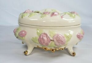 Porcelain Oval Jewelry Trinket Box with Pink Roses and Gold Accents