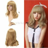 Women's Medium Long Curly Wavy Full Wig Blonde Hair Dress Party Cosplay Costume