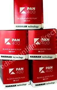 5 x KENTMERE PAN  (BY ILFORD) 400 35mm 36exp BLACK & WHITE FILM - 1st CLASS POST