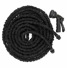 50 Feet BLACK Magic Flexible Expandable Garden Water Hose Pipe Spray Nozzle HQ