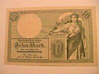 1906 Germany 10 Marks CH AU Original German Deutsche Banknote Currency P-9b