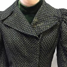 Victorian Boned Bodice Black Green Wool Tweed Velvet Collar Dickey Waist Blouse